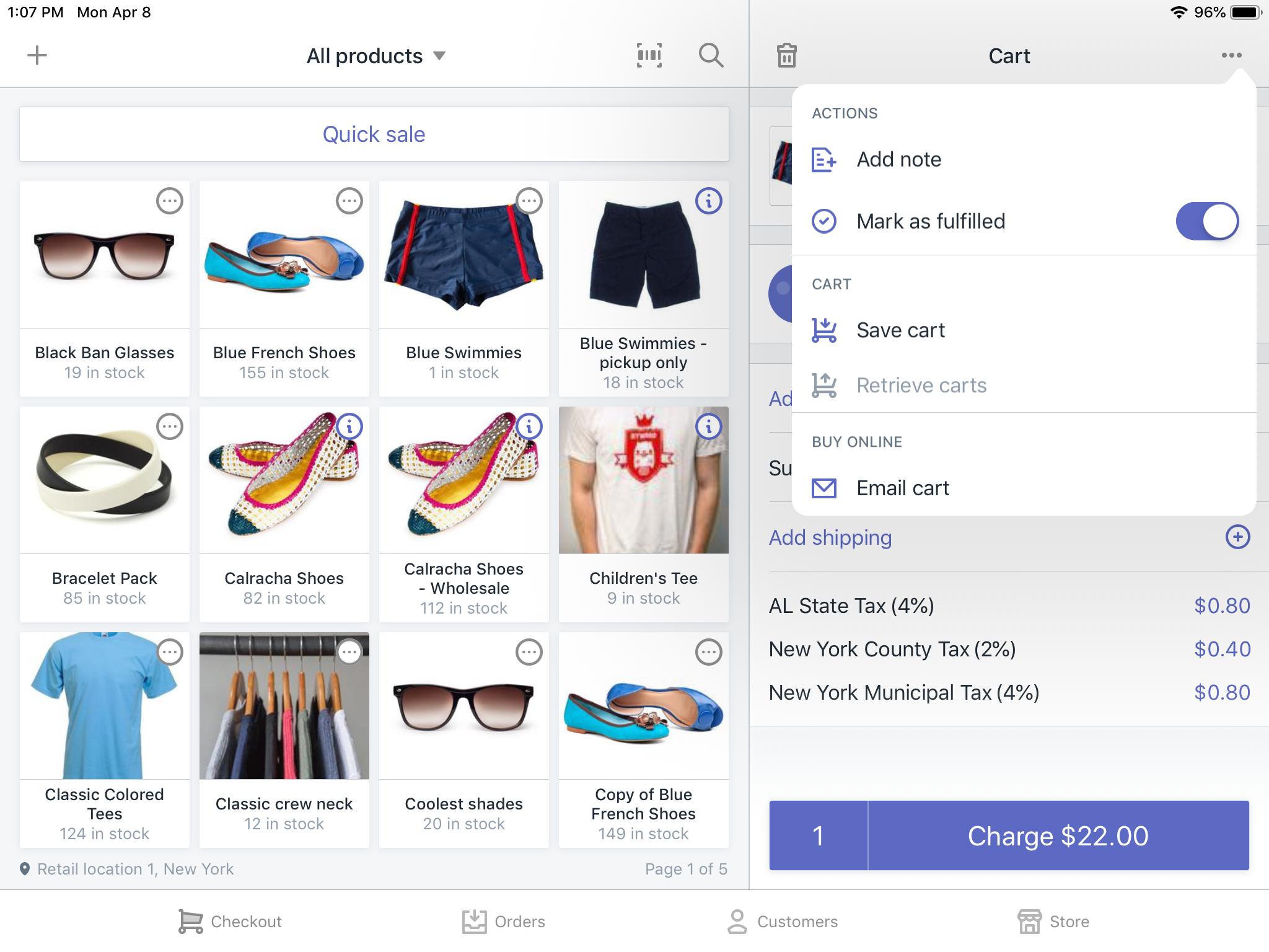 Shopify POSのアプリのカートメニュー