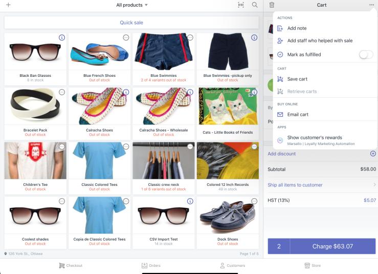 App nel menu carrello di Shopify POS