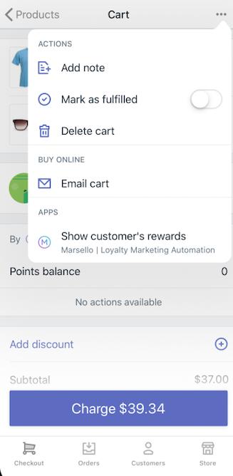 Shopify POS 购物车菜单中的应用