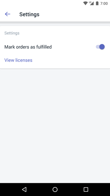 Mark orders as fulfilled option —Shopify POS for Android