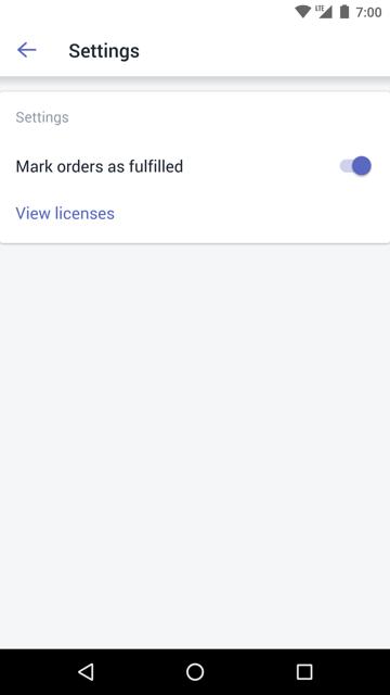 Opzione Segna ordini come evasi —Shopify POS per Android