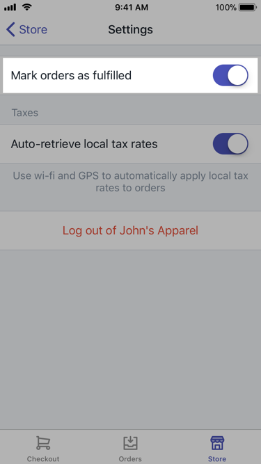 Mark orders as fulfilled option —Shopify POS for iPhone