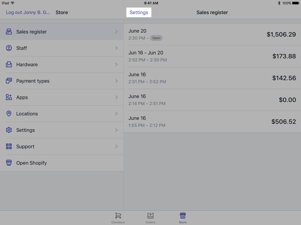 Bouton des paramètres de l'écran Register (Caisse): Shopify PDV pour iPad