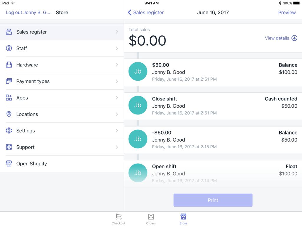 レジスターシフトの詳細画面 — iPad向けShopify POS
