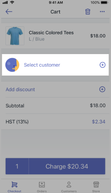 Select customer on the Cart screen — Shopify POS for iPhone