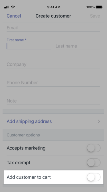 Bouton Add customer to cart (Ajouter un client au panier) - Shopify PDV pour iPhone