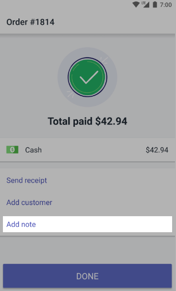 Add note to order android - Shopify POS
