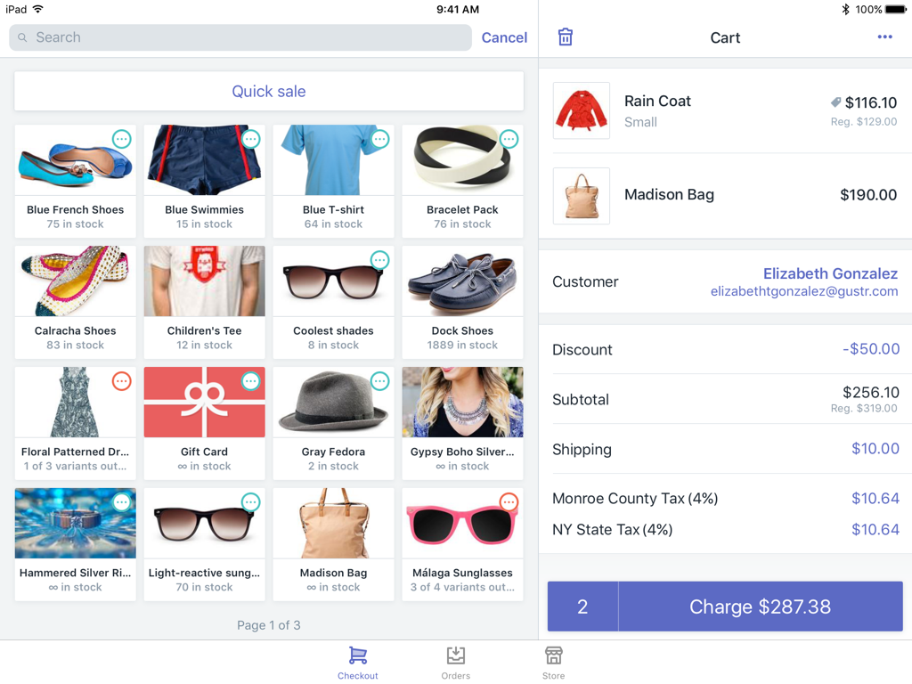 Tela de produtos e do carrinho do Shopify PDV —Shopify PDV para iPad