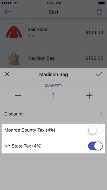 购物车订单项中的税率对话框