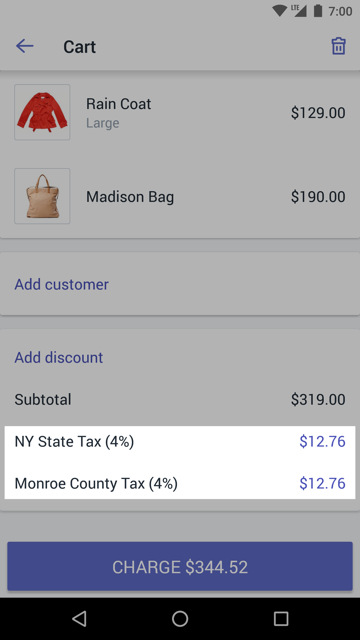 购物车中的税率 —适用于 Android 的 Shopify POS
