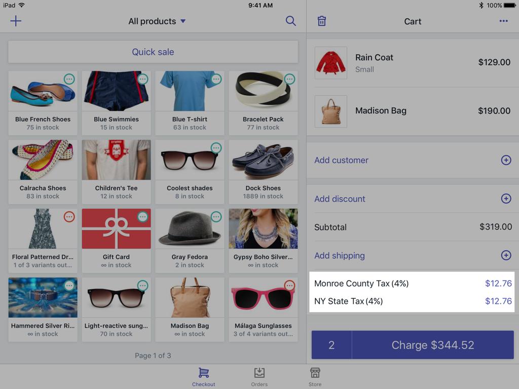 购物车中的税率 —适用于 iPad 的 Shopify POS