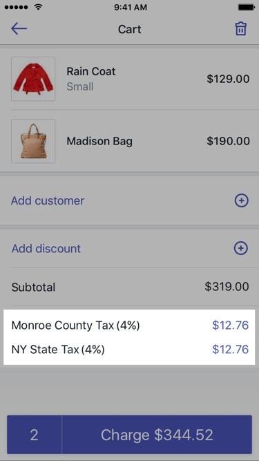 购物车中的税率 —适用于 iPhone 的 Shopify POS