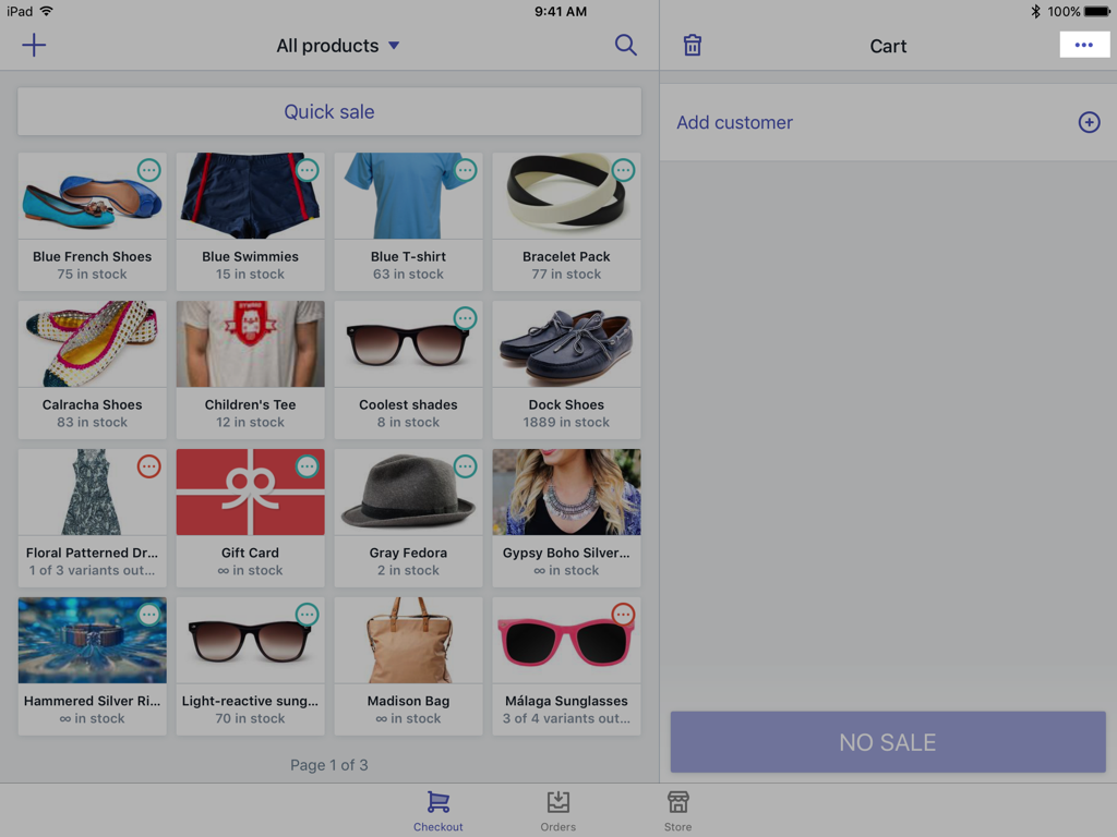 Botão Bandeja do carrinho —Shopify PDV para iPad