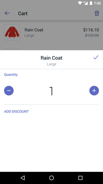Dialog to edit a product in the cart — Shopify POS for Android