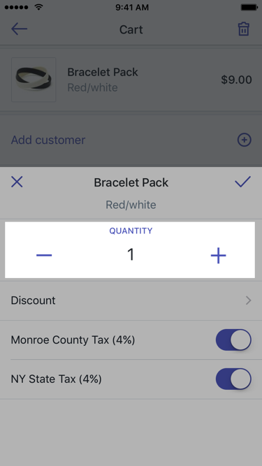 Dialog to edit a product in the cart — Shopify POS for iPhone