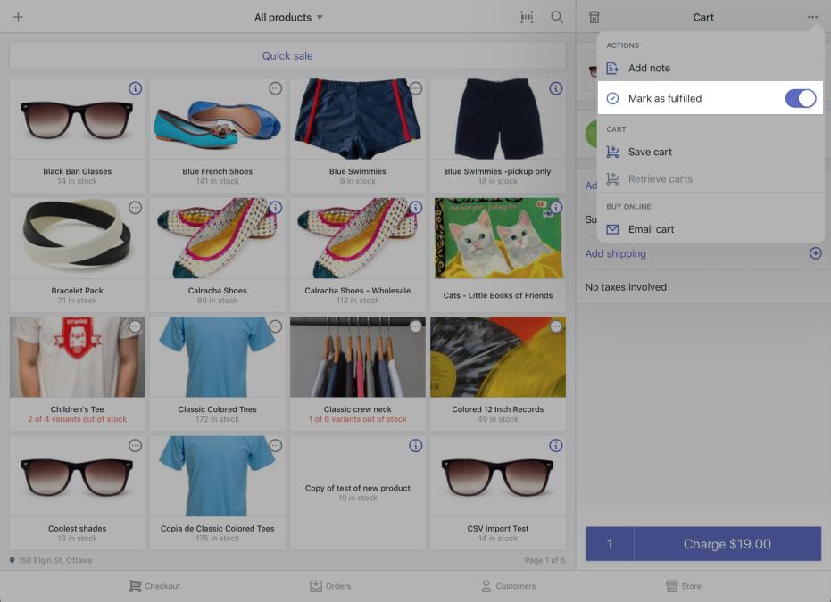 标记为已发货选项 —适用于 iPad 的 Shopify POS
