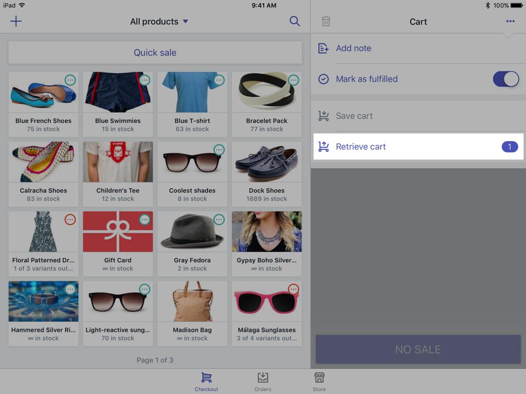 Botão Recuperar carrinho — Shopify PDV para iPad