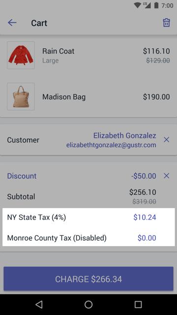 已禁用税率的购物车屏幕 —适用于 Android 的 Shopify POS