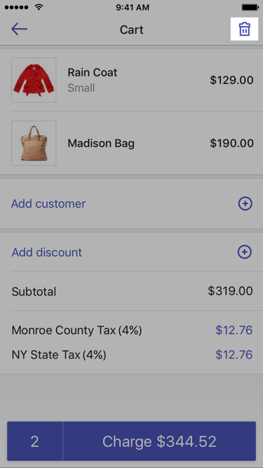 Trash can button on the Cart screen — Shopify POS for iPhone