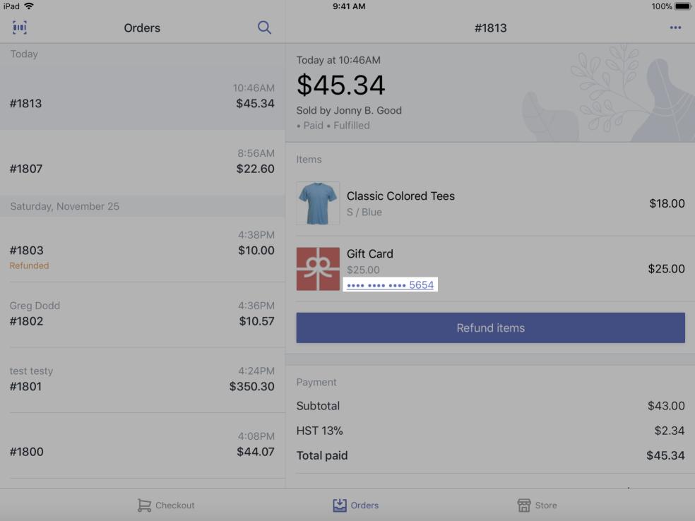Geschenkgutscheinnummer im Bildschirm mit den Bestelldetails iPad – Shopify POS