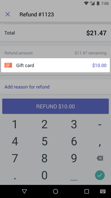 Refund amount field beside a gift card payment — Shopify POS for Android