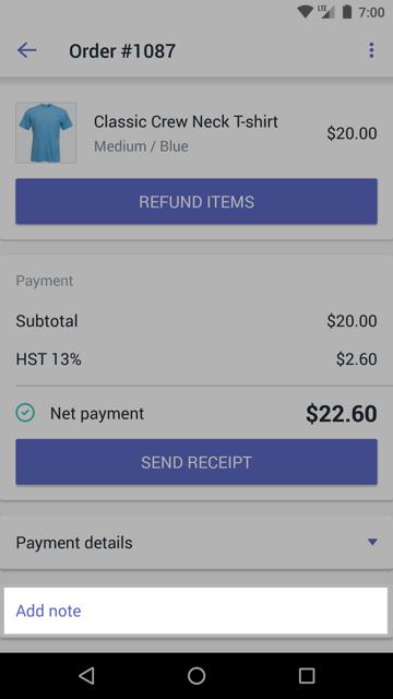 Notitie toevoegen aan bestelling - Shopify POS Android