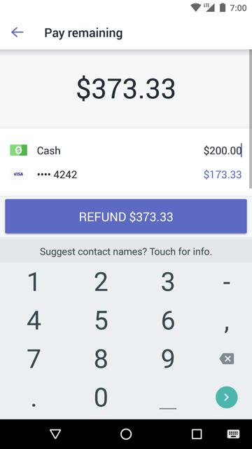 Schermata Paga residuo importo con un rimborso completo diviso tra due metodi di pagamento
