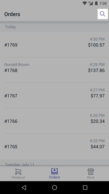 """""""订单""""屏幕上的搜索按钮 — 适用于 Android 的 Shopify POS"""