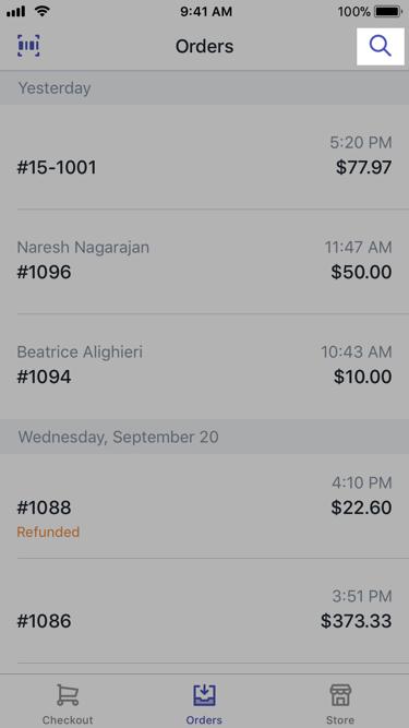 Shopify POS - 搜索订单 iPhone