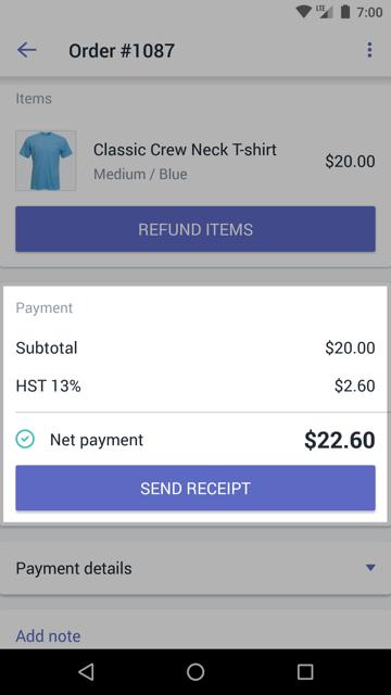 Sectie Betalingen met de knop BON VERZENDEN in een scherm met bestelgegevens - Shopify POS voor Android