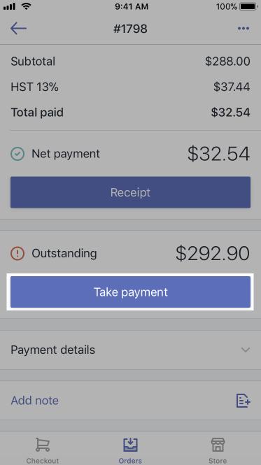 Bouton Take payment (Accepter un paiement)