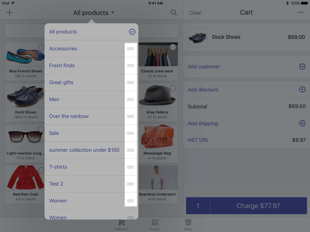 Three horizontal lines beside collection —Shopify POS for iPad
