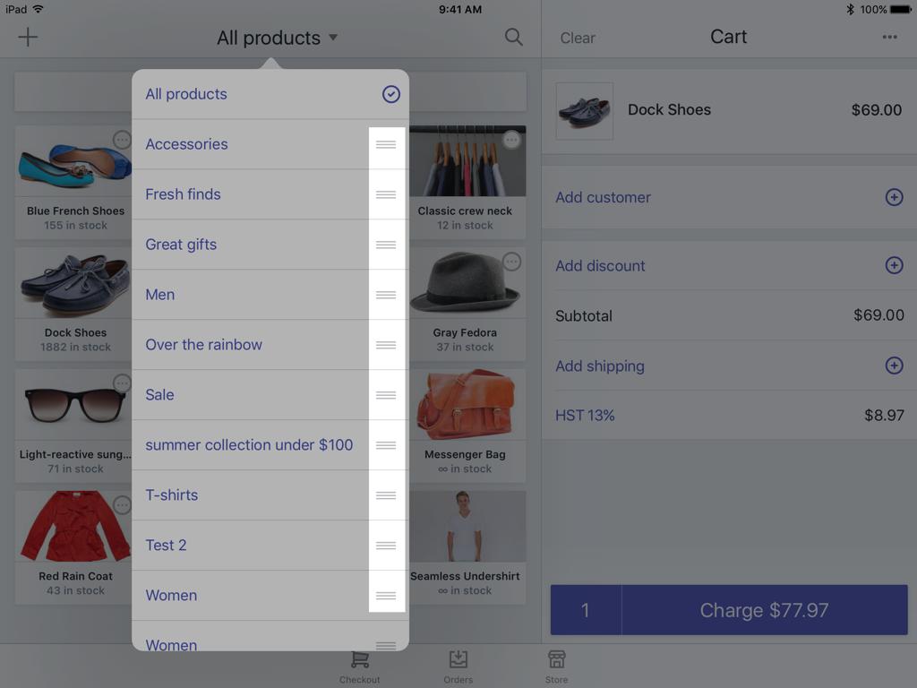 Tres líneas horizontales junto a la colección —Shopify POS para iPad