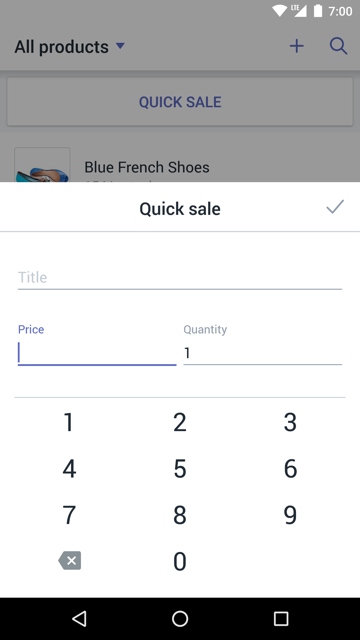 Quick sale dialog — Shopify POS for Android