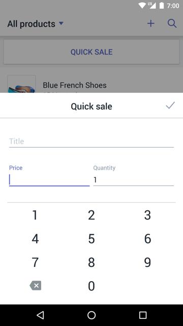 Boîte de dialogue de vente rapide —Shopify PDV pour Android