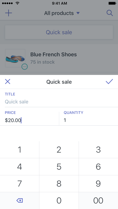 Quick sale dialog — Shopify POS for iPhone