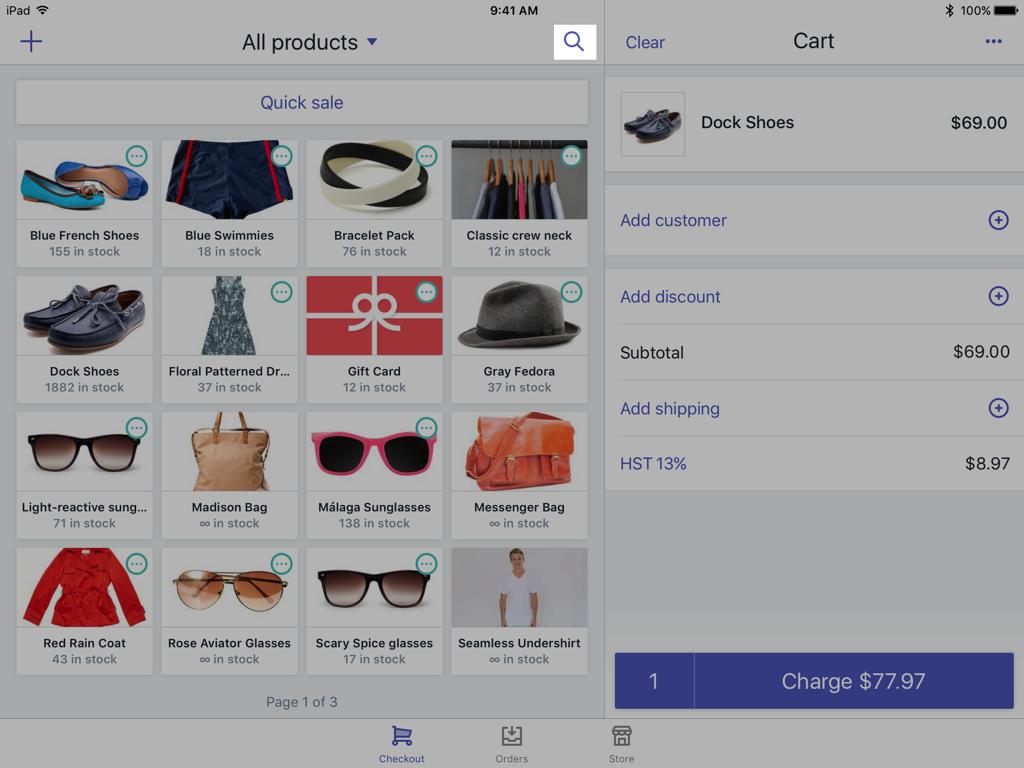 Shopify POS checkout search icon — Shopify POS for iPad