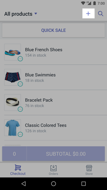 + (plus) button — Shopify POS for Android