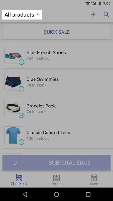 Nombre de la colección actual disponible en la pantalla de pago de Shopify POS —Shopify POS para Android