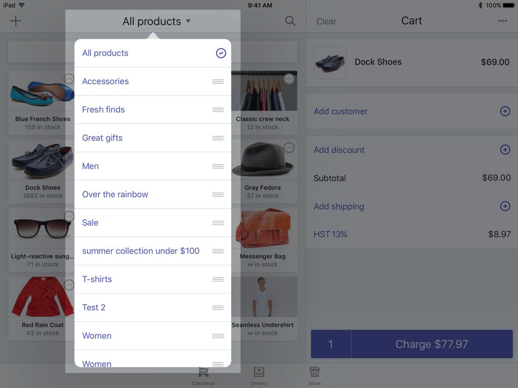 Nombre de la colección actual disponible en la pantalla de pago de Shopify POS —Shopify POS para iPad