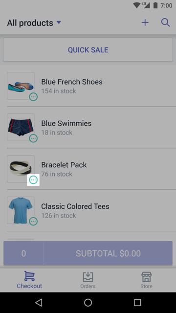 Icono de variantes en un producto —Shopify POS para Android