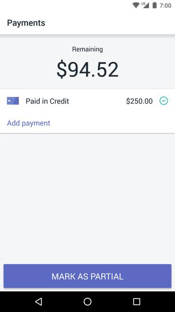 畫面顯示要支付的剩餘金額及標籤為部分按鈕 — Android 版 Shopify POS