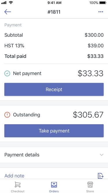 付款按鈕 — iPad 版 Shopify POS