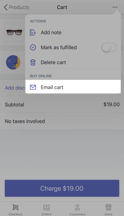 メールカートボタン: iPhone向けShopify POS