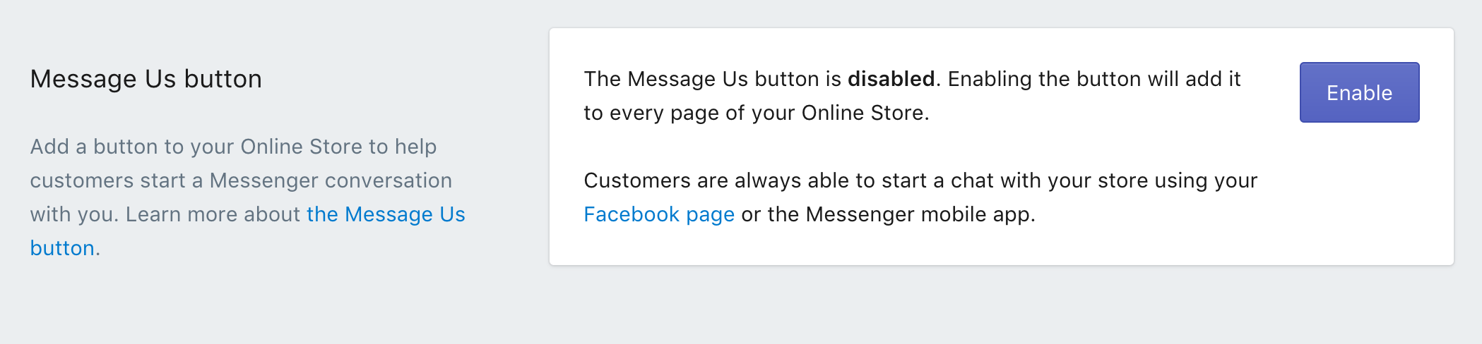Adding a Message Us button to your online store · Shopify