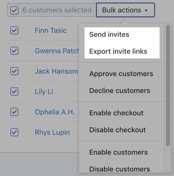 Capture d'écran montrant le menu déroulant Actions groupées.