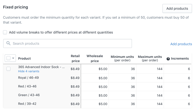 Screenshot of the Set Product Price options