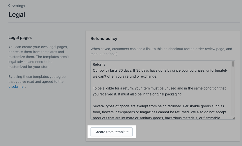 "Shopify 后台的屏幕截图,显示了在""设置""内的""规则""部分中创建政策模板的位置。"