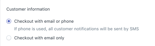 """""""通知""""设置中的""""使用电子邮件或电话号码结账""""选项"""