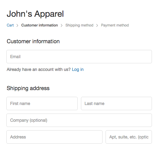 Shopify - checkout edit field